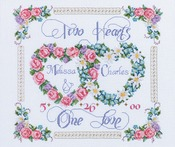 """14""""X12"""" 14 Count - Two Hearts, One Love Counted Cross Stitch Kit"""