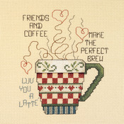 "5""X6"" 14 Count - Friends And Coffee Mini Counted Cross Stitch Kit"