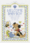 """7""""X10"""" 14 Count - Welcome Baby Boy Sampler Counted Cross Stitch Kit"""