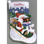 "16-1/2"" Long - Christmas Fun Stocking Felt Applique Kit"