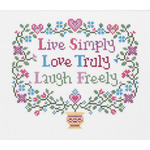"""8""""X7"""" 14 Count - Live, Love, Laugh Counted Cross Stitch Kit"""