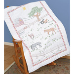 """Field Of Horses - Stamped White Lap Quilt Top 40""""X60"""""""
