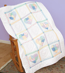 "Patchwork Hearts - Stamped White Lap Quilt Top 40""X60"""