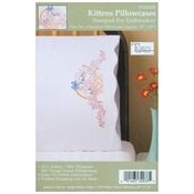 """Kittens - Stamped Pillowcase Pair 20""""X30"""" For Embroidery"""