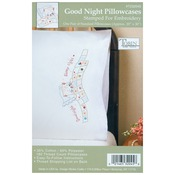 "Good Night - Stamped Pillowcase Pair 20""X30"" For Embroidery"