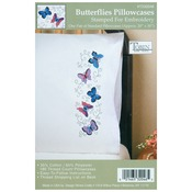 """Butterflies - Stamped Pillowcase Pair 20""""X30"""" For Embroidery"""