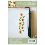 "Sunflower Yo-Yo - Stamped Pillowcase Pair 20""X30"" For Embroidery"