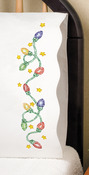 """Christmas Lights - Stamped Pillowcase Pair 20""""X30"""" For Embroidery"""