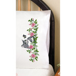 """Grey Cat - Stamped Pillowcase Pair 20""""X30"""" For Embroidery"""