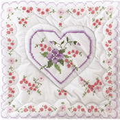 "Lilac Hearts - Stamped White Quilt Blocks 18""X18"" 6/Pkg"