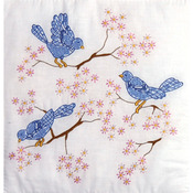"Blue Birds - Stamped White Quilt Blocks 18""X18"" 6/Pkg"