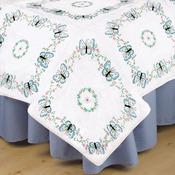 "Aqua Butterfly - Stamped White Quilt Blocks 18""X18"" 6/Pkg"