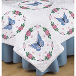 """Butterfly Rose - Stamped White Quilt Blocks 18""""X18"""" 6/Pkg"""