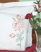 Long Stem Rose - Stamped Pillowcases With White Perle Edge 2/Pkg