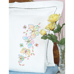 Fluttering Butterflies - Stamped Pillowcases With White Perle Edge 2/Pkg