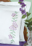 Circle Of Butterflies - Stamped Pillowcases With White Perle Edge 2/Pkg