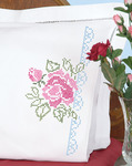XX Roses - Stamped Pillowcases With White Perle Edge 2/Pkg
