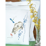 Fish - Stamped Pillowcases With White Perle Edge 2/Pkg