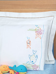 Fish At Play - Children's Stamped Pillowcase With White Perle Edge 1/Pkg
