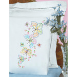 Fluttering Butterflies - Stamped Pillowcases With White Lace Edge 2/Pkg