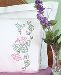 Hummingbird - Stamped Pillowcases With White Lace Edge 2/Pkg