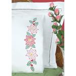 Poinsettias - Stamped Pillowcases With White Lace Edge 2/Pkg