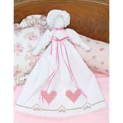 Chicken Scratch Hearts - Stamped White Pillowcase Doll Kit