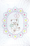 "Bear With Balloons - Stamped White Quilt Crib Top 40""X60"""