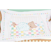 "Snuggly Teddy - Stamped White Quilt Crib Top 40""X60"""
