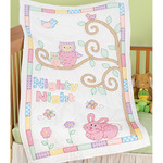 "Owls - Stamped White Quilt Crib Top 40""X60"""
