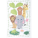 """Jungle - Stamped White Quilt Crib Top 40""""X60"""""""