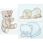 "Huggable Animals - Stamped Embroidery Kit Beginner Samplers 6""X8"" 3/Pkg"