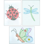 "Cute As A Bug - Stamped Embroidery Kit Beginner Samplers 6""X8"" 3/Pkg"