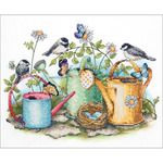 Watering Cans Stamped Cross Stitch Kit