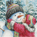 "6""X6"" 18 Count - Gold Petites A Kiss For Snowman Counted Cross Stitch Kit"