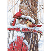 "10""X14"" 14 Count - Cardinals On Sled Counted Cross Stitch Kit"