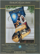 """16"""" Long 18 Count - Gold Collection Holy Night Stocking Counted Cross Stitch Kit"""