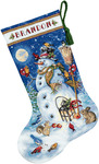 "16"" Long 18 Count - Gold Collection Snowman & Friends Stocking Counted Cross Sti"