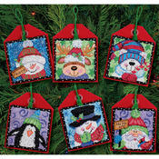 """4-1/2"""" Tall 14 Count Set Of 6 - Christmas Pals Ornaments Counted Cross Stitch Ki"""