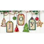 """5"""" High 14 Count Set Of 9 - Joy Tag Ornaments Counted Cross Stitch Kit"""