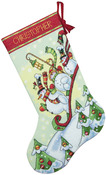 "16"" Long 14 Count - Sledding Snowmen Stocking Counted Cross Stitch Kit"