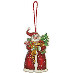 "Susan Winget Santa Ornament Counted Cross Stitch Kit-2-3/4""X4-3/4"" 14 Count Plas"
