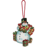 "Susan Winget Snowman Ornament Counted Cross Stitch Kit-3-1/4""x4-1/2"" 14 Count Pl"