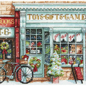"""6""""X6"""" 18 Count - Gold Petites Toy Shoppe Counted Cross Stitch Kit"""