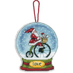 "3-3/4""X4-1/2"" 14 Count Clear Plastic - Love Snowglobe Counted Cross Stitch Kit"