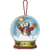"3-3/4""X4-1/2"" 14 Count Clear Plastic - Believe Snowglobe Counted Cross Stitch Ki"