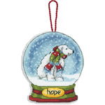 "3-3/4""X4-1/2"" 14 Count Clear Plastic - Hope Snowglobe Counted Cross Stitch Kit"