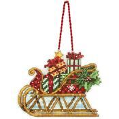 "Susan Winget Sleigh Ornament Counted Cross Stitch Kit-4.25""X3.25"" 14 Count Plast"