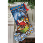 "16"" Long 16 Count - Gold Collection Santa's Flight Stocking Counted Cross Stitch"