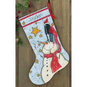 "16"" Long 14 Count - Tall Hat Snowman Stocking Counted Cross Stitch Kit"